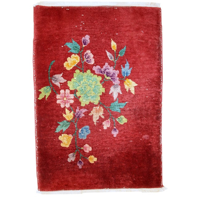 1920s Hand Made Antique Art Deco Chinese Rug - 2′ × 2′10″ For Sale