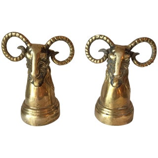 Brass Ram Head Bookends - A Pair For Sale