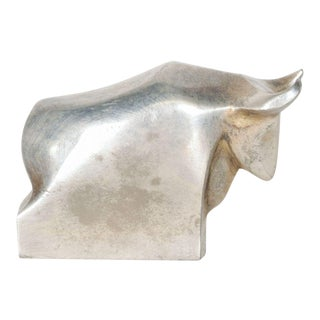 Dansk Designs Bull Paperweight Silver Mid Century Danish Modern Toro For Sale