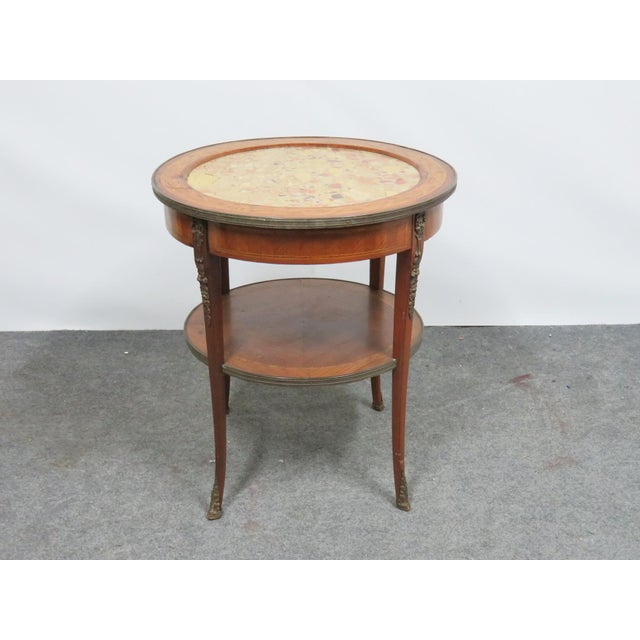 Grosfeld Marble Top Satinwood Inlaid Center Table For Sale - Image 9 of 9