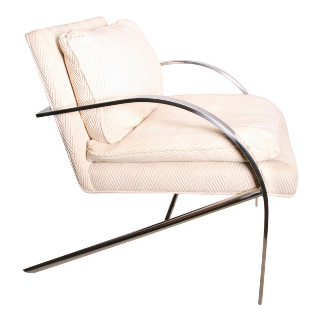 Vintage Chrome Upholstered Arm Chair by Bernhardt Flair - Image 1 of 11