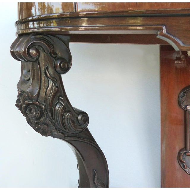 Mid 20th Century Carved Two-Drawer Console Table With Mahogany, Satinwood and Ebonized Wood For Sale - Image 5 of 13