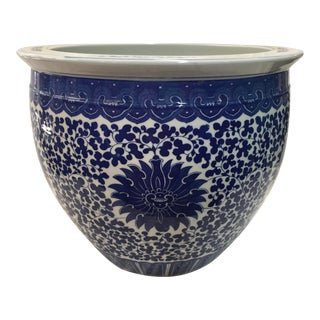 Blue & White Chinese Jardiniere Planter For Sale