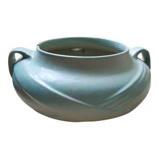 Art Deco/Arts and Crafts Large Light Turquoise Vessel/ Fulper Herb Planter For Sale