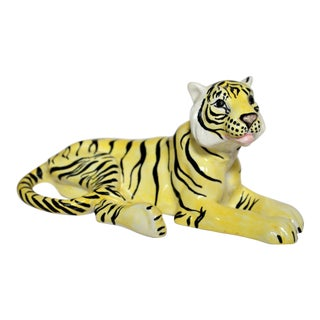 1960's Italian Terra Cotta Glazed Tiger For Sale