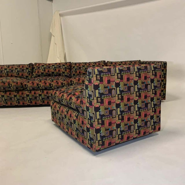 Milo Baughman Memphis Style Fabric Sectional Sofa with Down Filled Cushions - Set of 4 For Sale In New York - Image 6 of 13