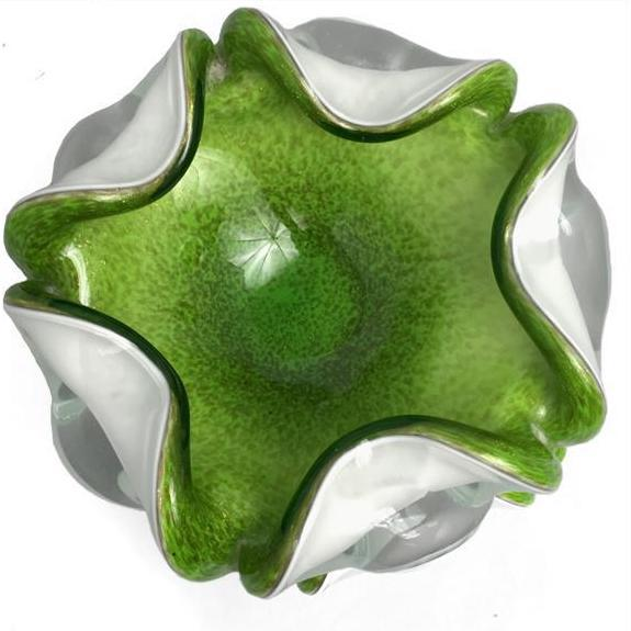 Mid 20th Century 1950s Vintage Murano Fratelli Toso Chartreuse Glass Dish For Sale - Image 5 of 8