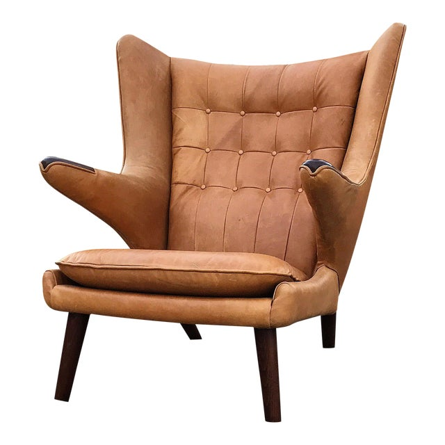 Hans Wegner Papa Bear Wingback Lounge Chair - Image 1 of 3