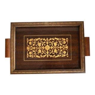 Vintage Art Deco Inlaid Wood Tray For Sale