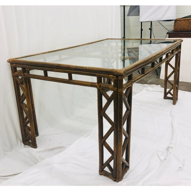 Ficks Reed Vintage Chinese Chippendale Rattan & Glass Top Table For Sale - Image 4 of 10
