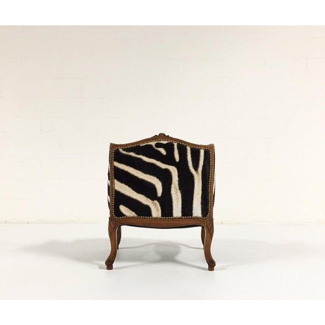 Vintage Carved Chair in Zebra Hide - Image 5 of 11