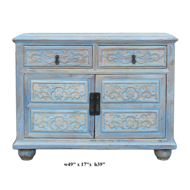 Wood Shabby Rustic Light Blue High Credenza Cabinet For Sale - Image 7 of 7