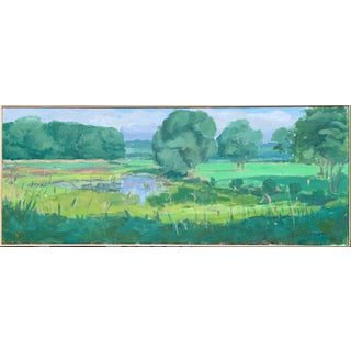 """""""Summer Light at Frog Pond"""" Contemporary Plein Air Acrylic Landscape Painting by Stephen Remick, Framed For Sale"""