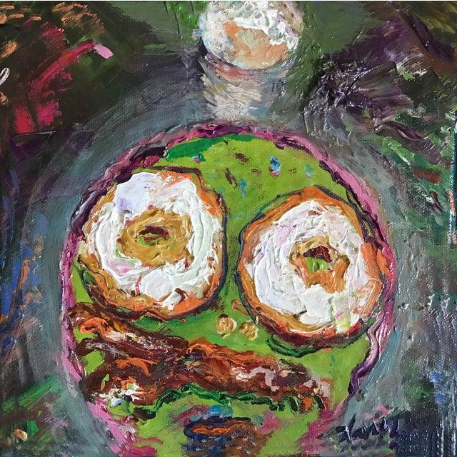 "Illustration ""Breakfast"" Original Framed Oil Painting For Sale - Image 3 of 6"