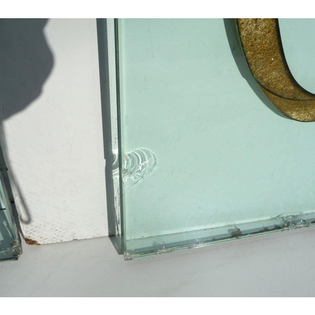 Glass Phenomenal Architectural Etched and Gilded Glass Panels For Sale - Image 7 of 11