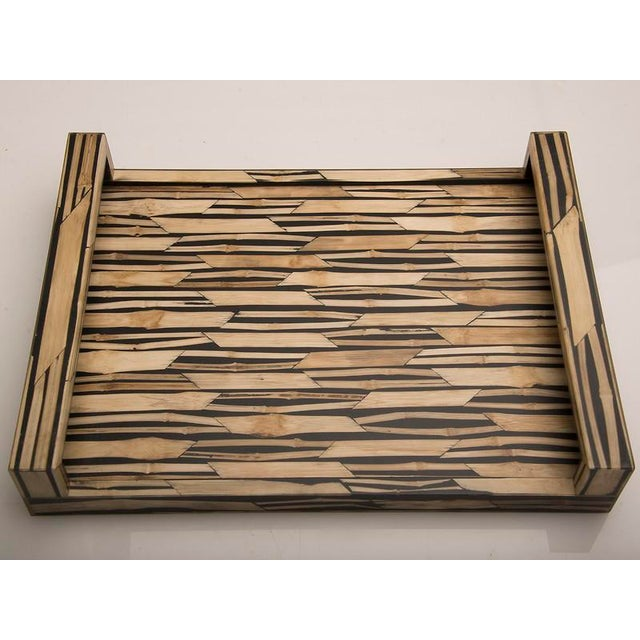 Malaysian Modern Bamboo Inlaid Serving Tray with Handles For Sale - Image 4 of 7
