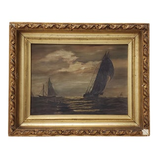 Antique Maritime Sailboats and a Rowboat Oil Painting, 19th Century For Sale