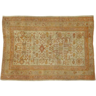 Late 19th Century Antique Turkish Oushak Area Rug With Geometric Pattern - 7′3″ × 10′ For Sale