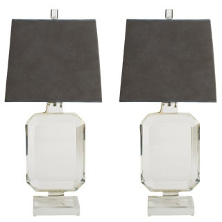 Pair of Les Prismatiques Lucite Lamps For Sale
