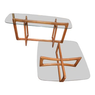 Mid-Century Modern Adrian Pearsall Ribbon Square Table and Console Table - 2 Pieces For Sale