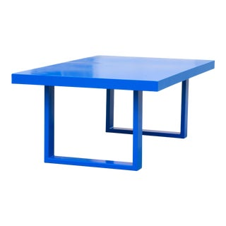Custom Made Minimalist Steel Coffee Table in Blue