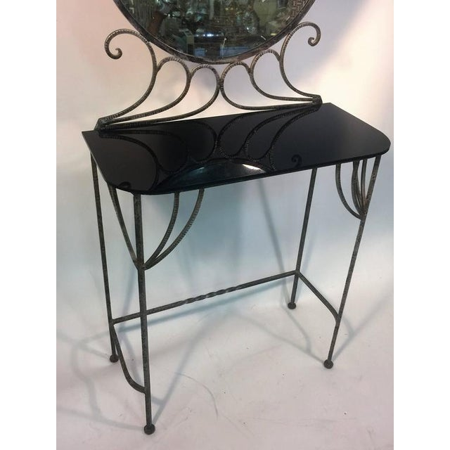 Art Deco BEAUTIFUL ART DECO WROUGHT IRON VANITY AND CHAIR BY FERRO BRANDT For Sale - Image 3 of 11