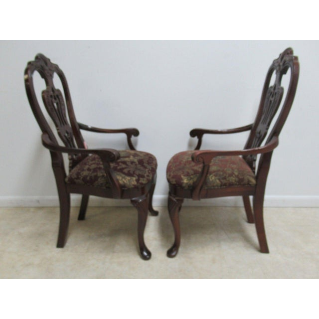 Lights Thomasville Solid Mahogany Chippendale Arm Chairs - A Pair For Sale - Image 7 of 10