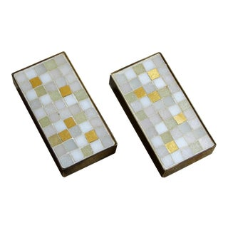 Eddie Egan Los Angeles Brass and Mosaic Drawer Pulls - a Pair For Sale