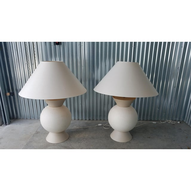 French Jacques Molin Bulbous Table Lamps sold as found in vintage condition previously used. Lamps shades are included in...