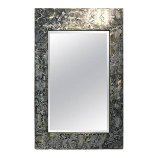 Phenomenal Mixed-metal Brutalist Wall Mirror in the Manner of Paul Evans For Sale