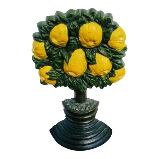 Vintage Cast Iron Lemon Tree Regency Door Stopper