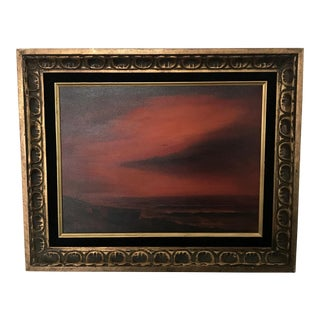 Vintage Mid-Century Seascape Deserted Beach Oil Painting For Sale