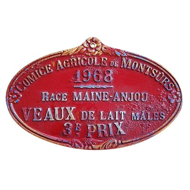 1968 Vintage French Dairy Prize Trophy Plaque For Sale