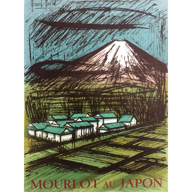 "1980s Bernard Buffet Rare Vintage 1980 "" Mourlot Au Japon "" French Lithograph Print Exhibition Poster For Sale - Image 5 of 12"