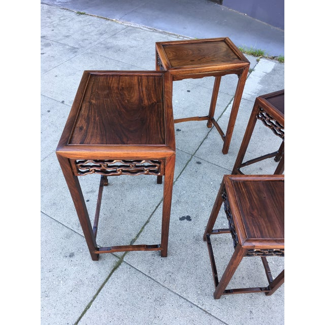 20th Century Chinese Rosewood Nesting Tables - Set of 4 For Sale - Image 9 of 12