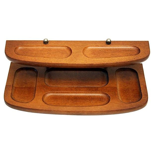 Teak And Brass 2-Tier Desk Tray - Image 2 of 4