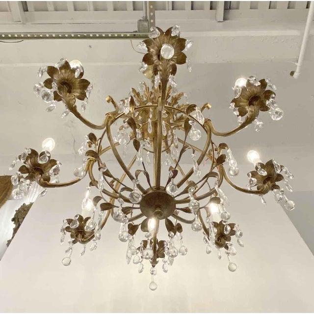 Gold Florentine Style Crystal & Gilt Metal Chandelier For Sale - Image 8 of 10