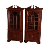 Image of Stickley Chippendale Style Large Pair Mahogany Corner Cabinets For Sale