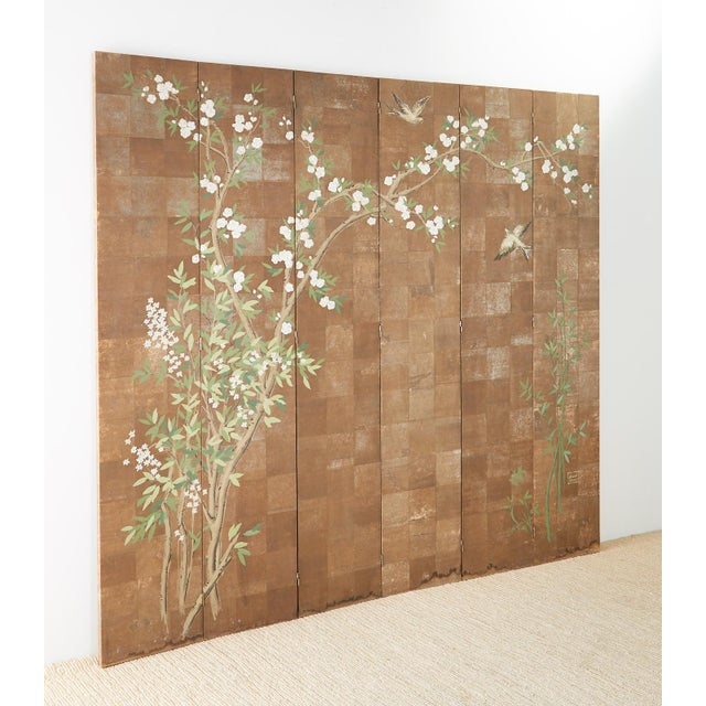 Mid 20th Century Chinoiserie Six-Panel Screen Inspired by Robert Crowder For Sale - Image 5 of 13