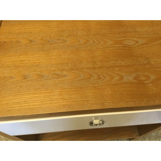 Limed Oak & White Lacquer Nightstand For Sale - Image 7 of 7
