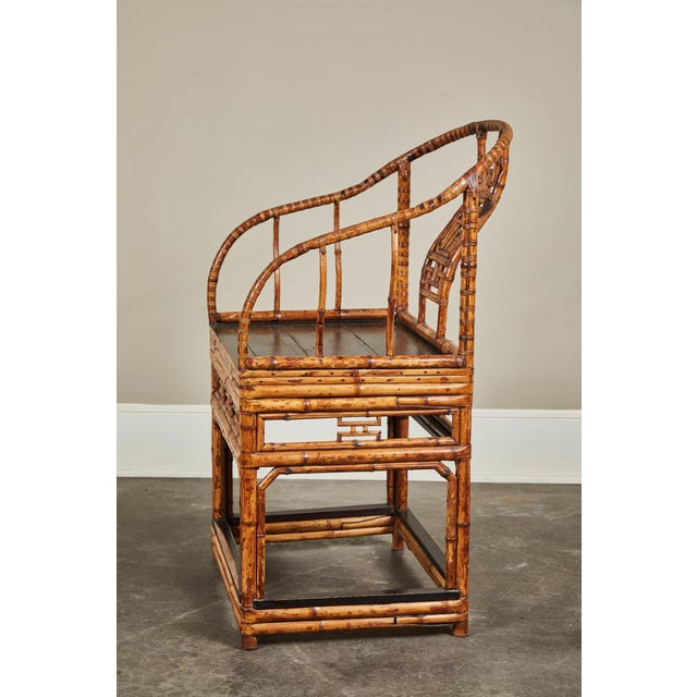 Asian 19th C. Chinese Bamboo Horseshoe Armchair For Sale - Image 3 of 10