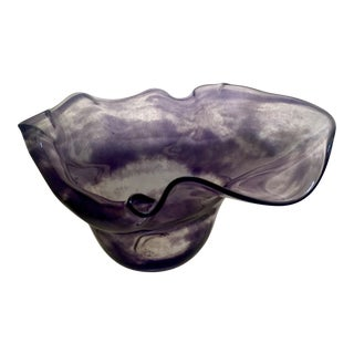 Abstract Purple & Clear Art Glass Bowl For Sale