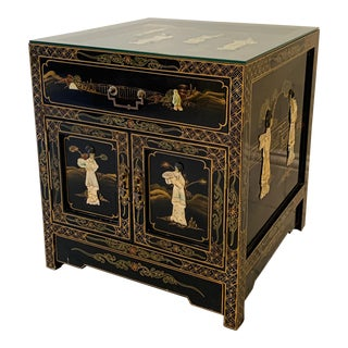 Vintage Asian Lacquer Side Table Cabinet Nightstand With Stone Inlays For Sale