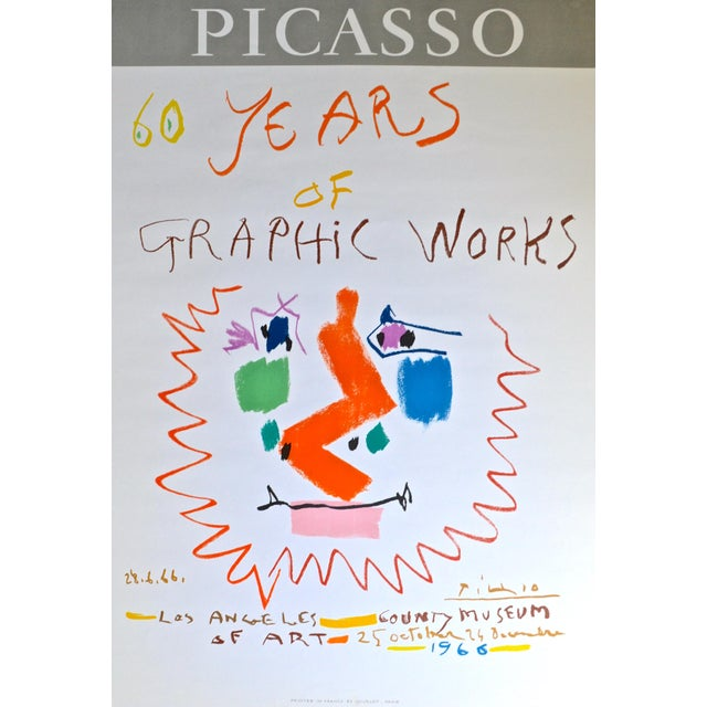 Printed in France by Mourlot- Paris, 1966. Original lithograph in color designed by Picasso for the opening of the LA...