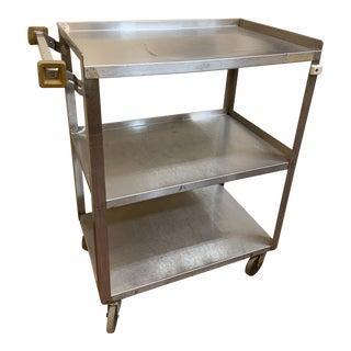 1940s Vintage Mid Century Modern Industrial Steel Bar Cart For Sale