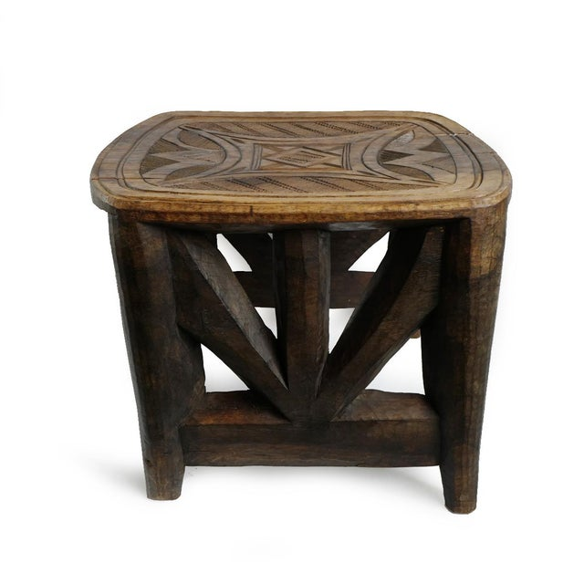 Abstract Vintage XL Nupe Tribal Stool / Table For Sale - Image 3 of 6