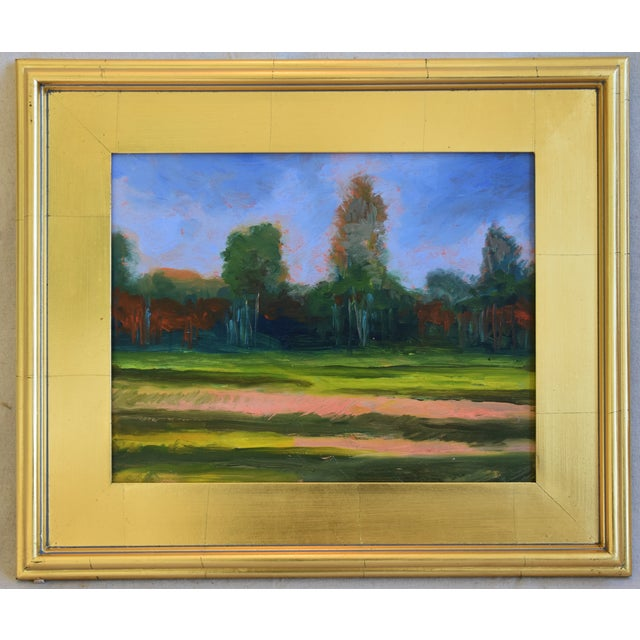 Gold Leaf California Plein Air Foothills & Meadow Oil Painting W/ New Gold Leaf/Gilt Frame For Sale - Image 7 of 7