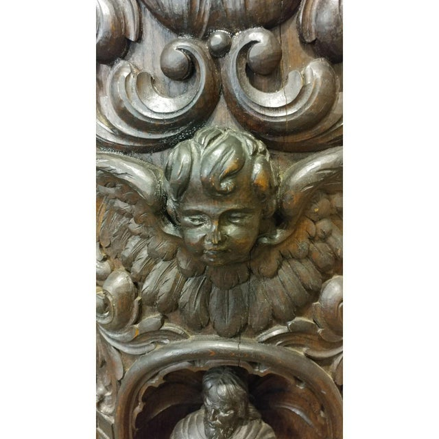 Wood 18th Century Carved French Gothic Oak Cabinet with Santos & Angels Figures For Sale - Image 7 of 9
