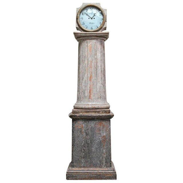 Blue 18th Century Swedish Neoclassical Working Long Case Clock in Original Paint For Sale - Image 8 of 8