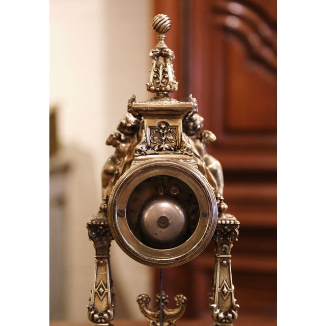 19th Century French Louis XV Rococo Gilt Bronze Mantel Clock With Cherubs For Sale - Image 11 of 13